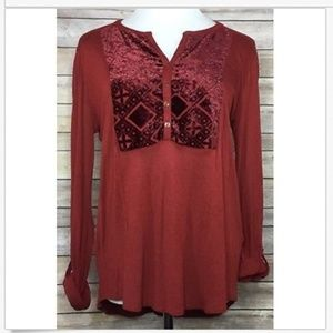 Lucky Brand Boho 1/2 Button Down Tunic Top Large